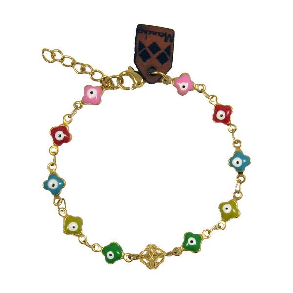دستبند طلا 18 عیار دخترانه مانچو
