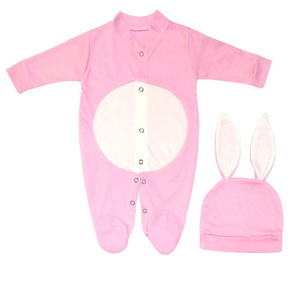 ست سرهمی و کلاه نوزادی دخترانه خرگوشی