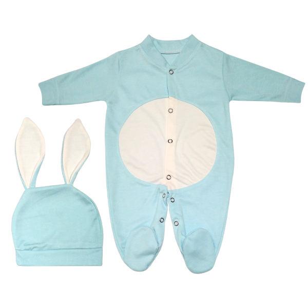 ست سرهمی و کلاه نوزادی پسرانه طرح خرگوش